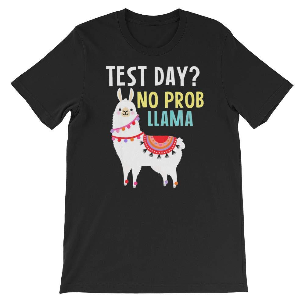 Funny Test Day Llama Teacher Exam Shirt Test Day No Prob Llama Short-Sleeve Unisex T-Shirt