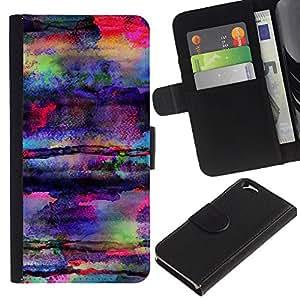 KLONGSHOP // Tirón de la caja Cartera de cuero con ranuras para tarjetas - Arte Colores hongos psicodélicos - Apple Iphone 6 //