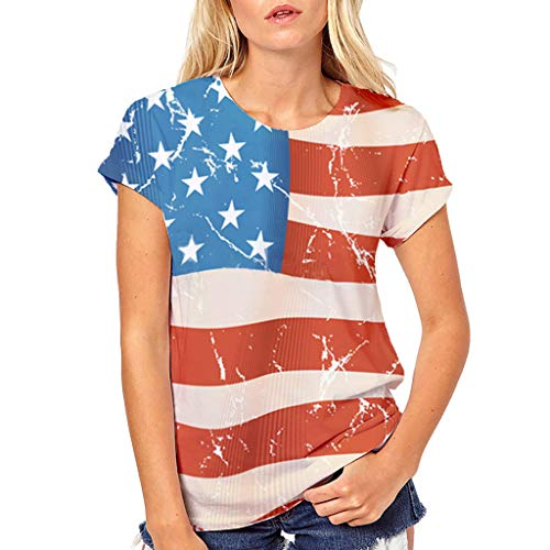 Trail Runner Tech Tee - OOEOO Women Teen Girls Plus Size 4th Of July American Flag Print Tees Shirt Short Sleeve T Shirt Blouse Tops(Red,S)