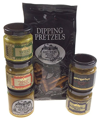 Pretzels with 5 Flavors of Mustard Gift Set Bundle