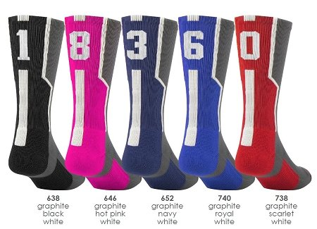 - Graphite/Red with White #1 Athletic Sports Socks (1 Sock)