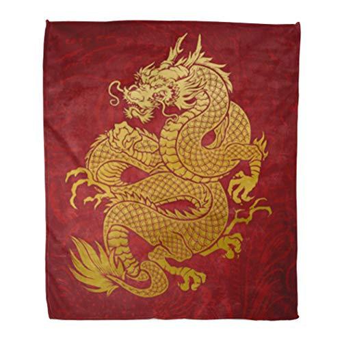 Golee Throw Blanket Chinese Coiled Dragon Gold on Red Japanese Oriental Thailand Korean 60x80 Inches Warm Fuzzy Soft Blanket for Bed Sofa