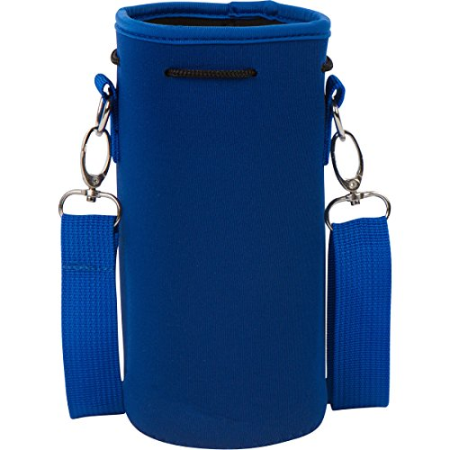 Neoprene Bottle Suit (Neoprene Water Bottle Carrier Holder (32 ounces or 1-1.5 Liter) w/Adjustable Shoulder Strap - Protect Your Containers From Damage - Cover Glass Bottles - Dog Bottle Carrier by Made Easy Kit (Blue))
