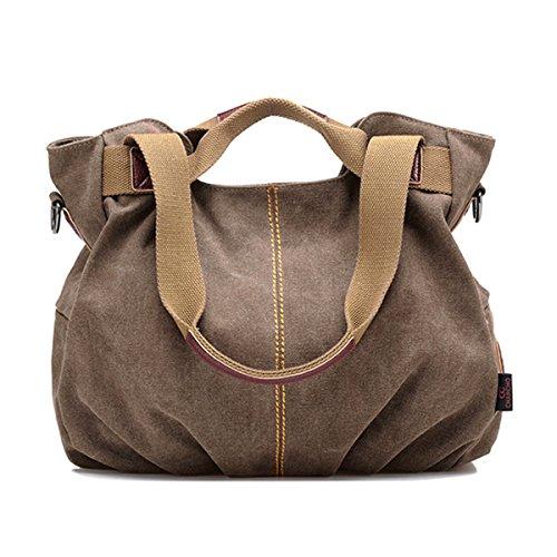 Mily Womens Canvas Hobo Handbag Tote Bag Casual Shoulder Bag Zipper Shopping Vintage Cross Body Bag (Brown)