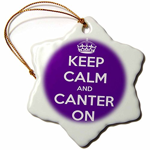 3dRose orn_193619_1 Keep Calm and Canter On. Purple. Snowflake Ornament, Porcelain, 3-Inch by 3dRose