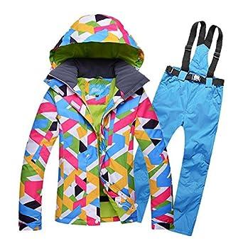 HOTIAN Women's Windproof Waterproof Bright Color Ski& Snowboarding Jacket Pants Set
