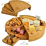 """Picnic at Ascot Patented Personalized Monogrammed Engraved Bamboo Cutting Board for Cheese & Charcuterie with Knives & Cheese Markers - Stores as a Compact Wedge - Opens to 18"""" Diameter"""