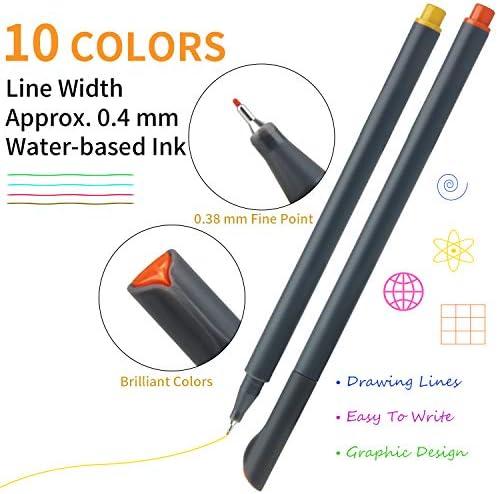 MyLifeUNIT Fineliner Color Pen Set, 0.4mm Colored Fine Liner Sketch Drawing Pen, Pack of 10 Assorted Colors 2