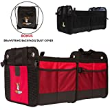 Tuff Viking with V-Straps Car Trunk Storage Organizer with 11 Extra Pockets, Removable Divider, Expandable side pockets, Collapsible, Reinforced Bottom, and Waterproof Interior (Red)