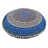 KMG Kimloog Round Pillow Cover, Decorative Mandala Pillow Sham, Indian Bohemian Ottoman Poufs, Outdoor Cushion Cover, Pom Pom (C)