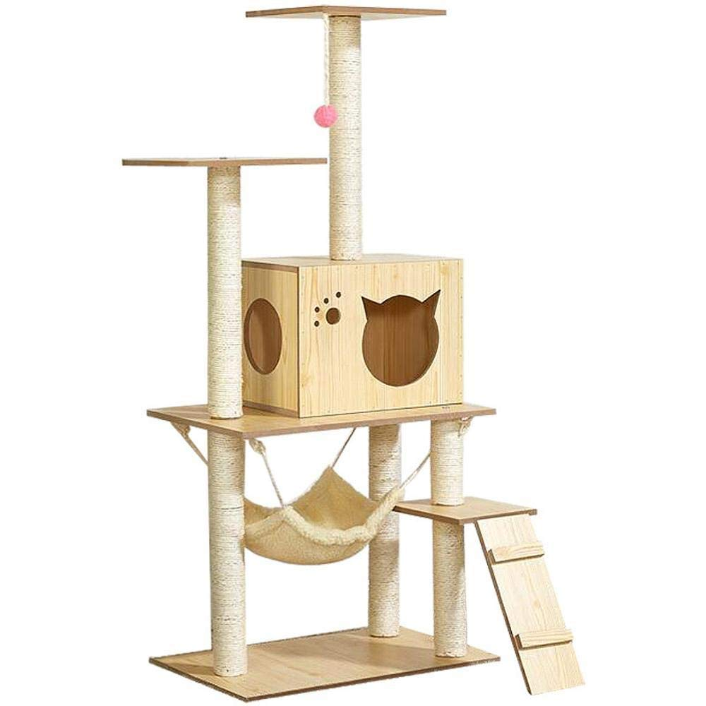Deluxe Multi Cat Tower Cat Play Towers Wooden Cat Litter Cat cat Scratch cat Toy cat Jumping Cat Scratch Board Pet Supplies
