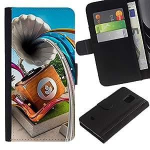 ZONECELL (No Para S5) Imagen Frontal Negro Cuero Tarjeta Ranura Trasera Funda Carcasa Diseño Tapa Cover Skin Protectora Case Para Samsung Galaxy S5 Mini, SM-G800 - líneas abstractas de gramófono