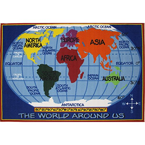 Price comparison product image LA Rug Kids World Map Blue Accent Rug (2'6 x 3'9)