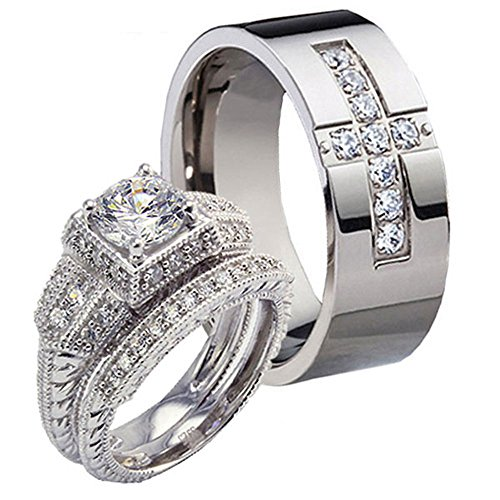 Wedding Sterling Silver Zirconia Titanium product image