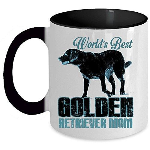 I Love My Dog Coffee Mug, World's Best Golden Retriever Mom Accent Mug (Accent Mug - Black)