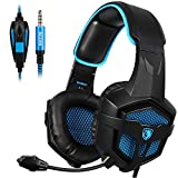 xbox game remote - SADES New SA807S Over-ear Stereo Gaming Headset Headband Headphones with Microphone/Control-remote/Noise-Reduction for PC Computers/Mac/Laptop/PS4/New Xbox One/Cellphons/Tablets (Black Blue)