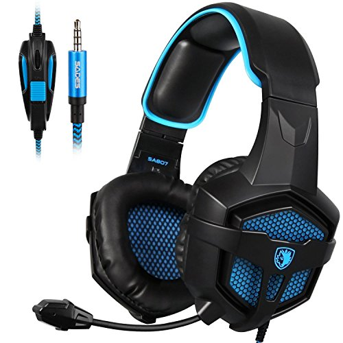 SADES New SA807S Over-ear Stereo Gaming Headset Headband Headphones with Microphone/Control-remote/Noise-Reduction for PC Computers/Mac/Laptop/PS4/New Xbox One/Cellphons/Tablets (Black Blue) by SADES