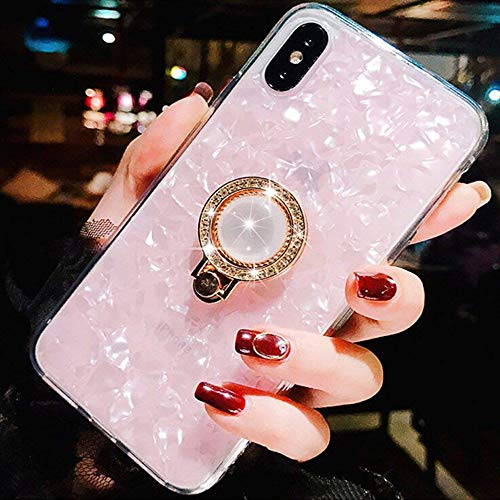 - ZCDAYE Luxury Bling Crystal Diamond Ultra-Thin Soft TPU Rubber Silicone Kickstand Ring Holder Design Shock Absorption Protective Shell Case Cover for Apple iPhone Xs/iPhone X - Pink