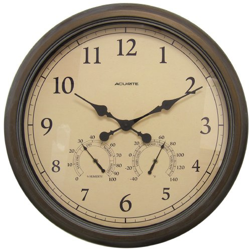 AcuRite 01061 24-Inch Patina Indoor/Outdoor Wall Clock with Thermometer and Hygrometer (Large Outdoor Clocks For Walls)