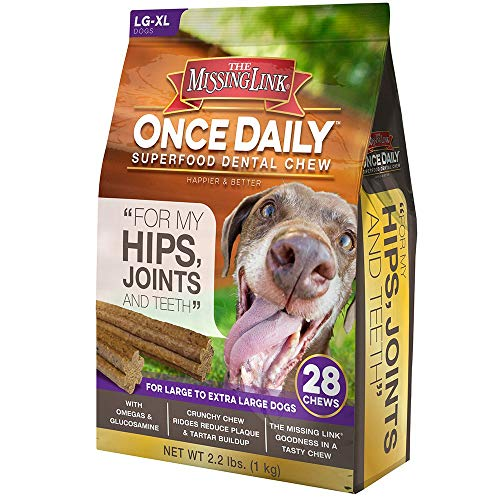 The Missing Link - Once Daily All Natural Omega Dental Chew - Hips, Joints & Teeth - L/XL Dog - 28 Day Supply