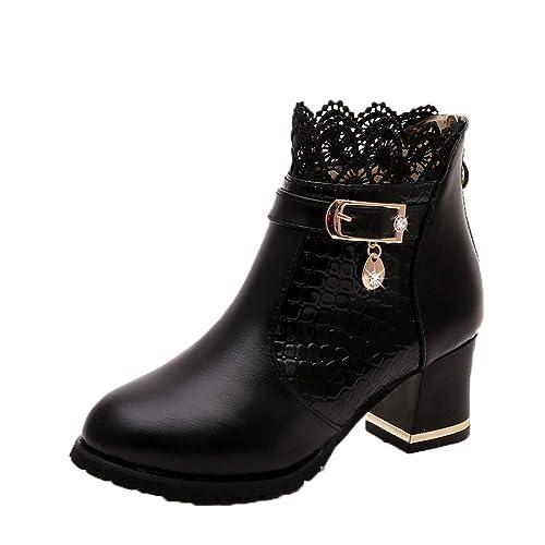 plus récent e2a3d 0747d ZYUEER Femmes Talon Lacet De Soiree Chaussures Compensé Dentelle Mode Ankle  Boots Femme Bottes Neige Chaud Pas Cher
