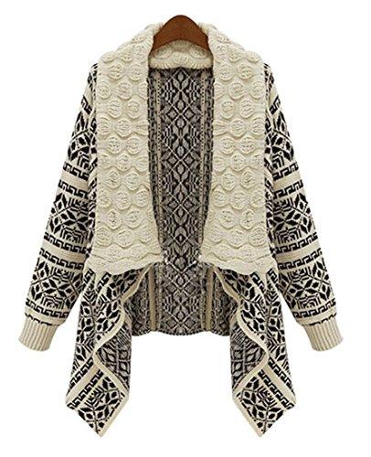 Women's Long Sleeve Open Front Knitted Geometric Pattern Short Cardigan Sweater Coat Beige