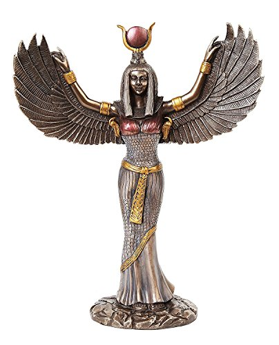 Egyptian Theme Isis Mythological Bronze Finish Figurine With Open Wings Goddess of Magic Statue Sculpture