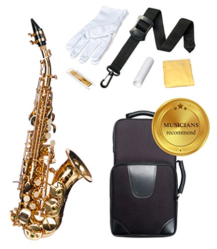 Birdland soprano saxophone B flat (Bb), lightweight soprano sax, Gold lacquer Saxophone Soprano with Carrying Case, Mouthpiece, Ligature, Cap, Strap, Gloves, Cane, Cork grease, Cleaning Microfiber