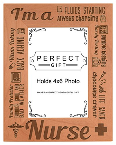 ThisWear Nurse Appreciation Gift I am a Nurse Poem Natural Wood Engraved 4x6 Portrait Picture Frame Wood