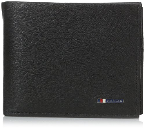 Tommy Hilfiger Men's Leather Wallet - Bifold Trifold Hybrid Flip Pocket Extra Capacity Casual Slim Thin for Travel,Lloyd Black (Wallet Flip Bifold)