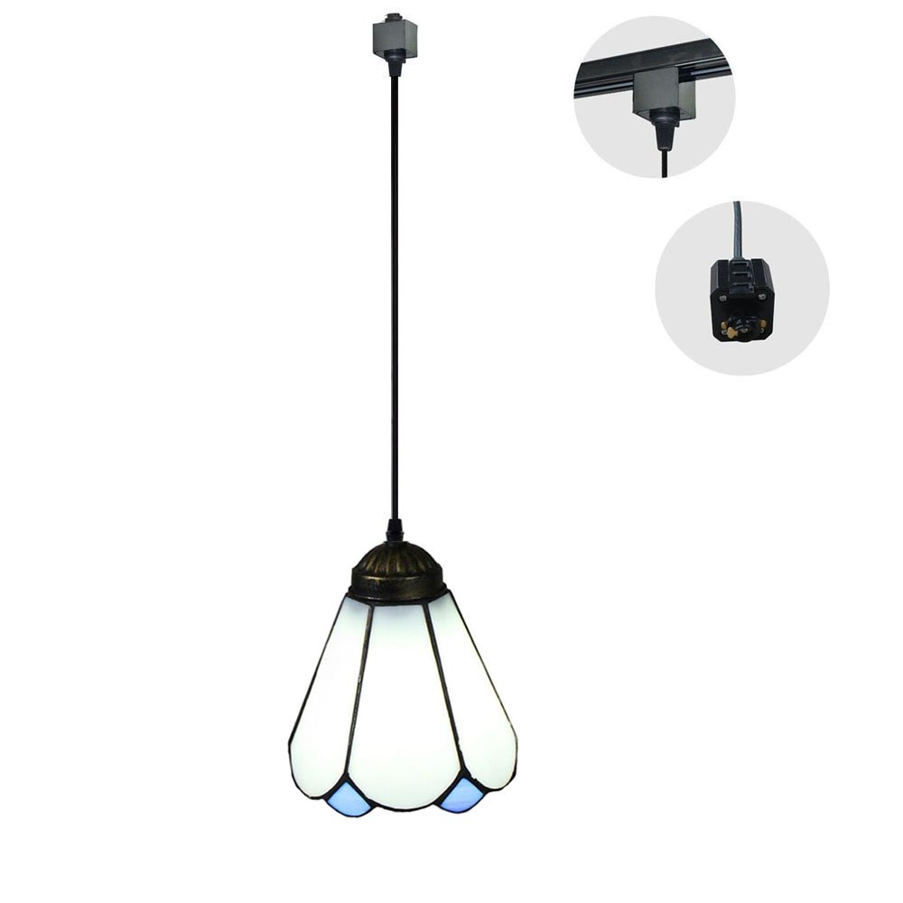 KIVEN 1-Light 5.9'' Wide Tiffany Style H-type Track Lighting Glass Mini Pendant,Bulb Sold Separately