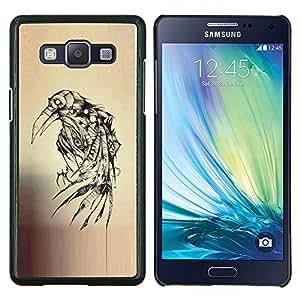 Crow Ink Tattoo Sketch Death Metal- Metal de aluminio y de plástico duro Caja del teléfono - Negro - Samsung Galaxy A5 / SM-A500