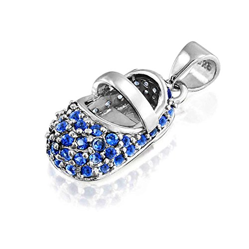 Baby Shoe Pendant Simulated Sapphire CZ September Birthstone 925 Silver with Engraving