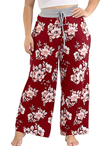 Allegrace Women's Plus Size Casual Comfy Pajama Pants Floral Print Drawstring Palazzo Wide Leg Lounge Pants Wine Red 3X