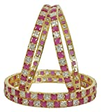 MUCH-MORE Bollywood Fabulous Style Gold Tone Diamond Indian Bangles Traditional Jewelry (Gold, 2.6)