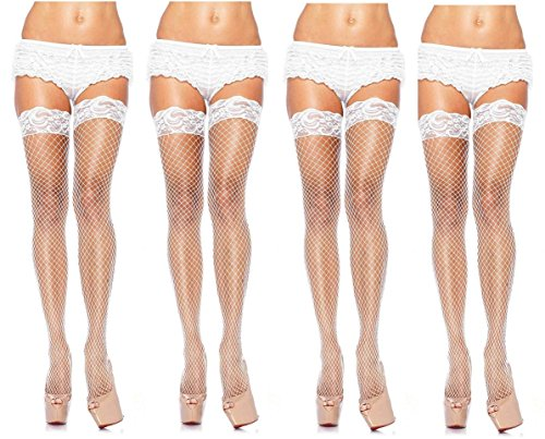 (Leg Avenue Women's Fishnet Thigh High Stockings w/Silicone Lace Top, 4-Pair, White)