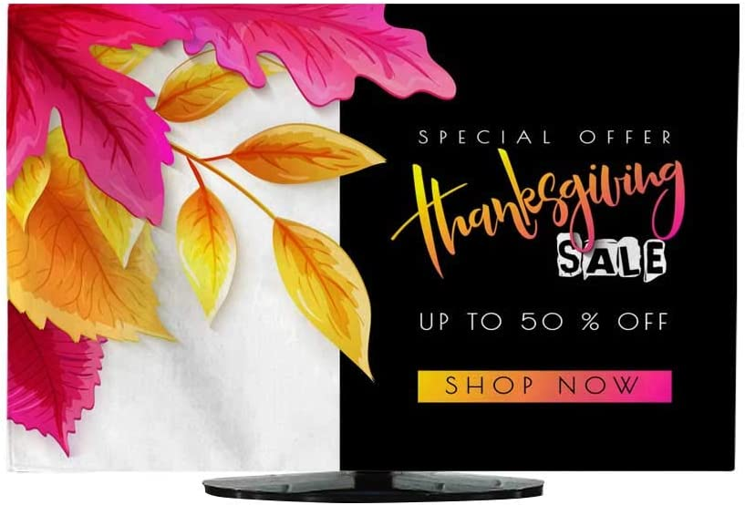 Funda para Cortina de TV, diseño de Vector con Texto en inglés Happy Thanksgiving Banner y Hojas Brillantes de otoño y Hojas de caniches: Amazon.es: Electrónica