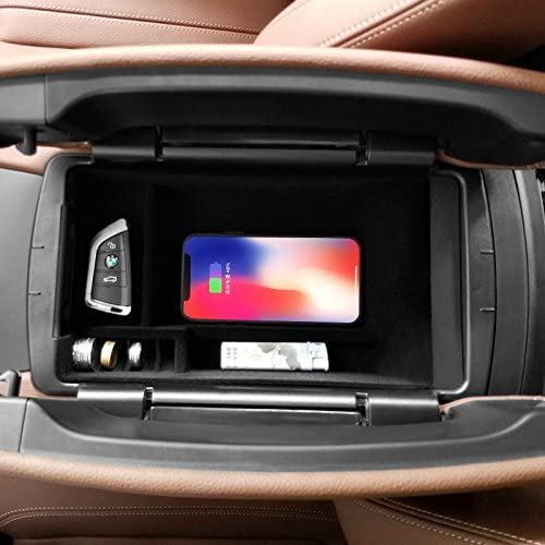 eLUUGIE Qi Wireless Charger Pad Car Phone Holder Car Center Console Organizer Car Armrest Storage Box For iPhone X Wiereless Charger Phone Pad For