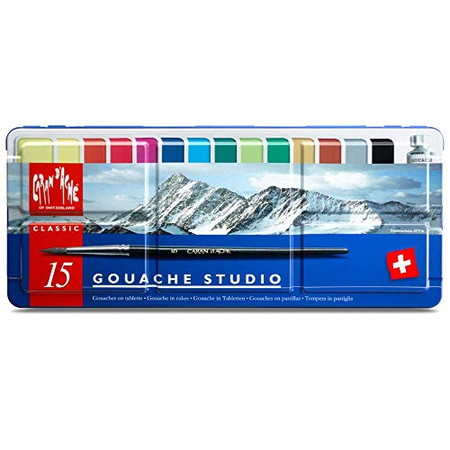 Caran D Ache Gouache Studio 15 Assorted Colors Set In Metal