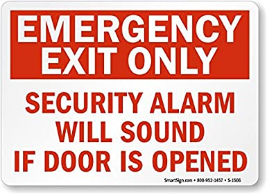 Amazon.com: Salida de Emergencia sólo Alarma Will sonido Si ...