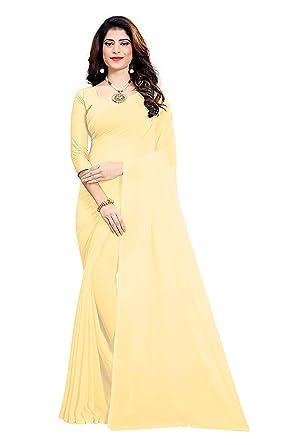 90dc131788 Bigmegamart Women's Solid Plain Georgette saree With Unstitched Blouse Piece  Beige