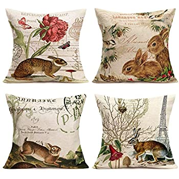 Asminifor Vintage Animal Rabbit Bunny with Quote Lettering Decorative Pillow Covers Pack of 4 Farmhouse Decor 18