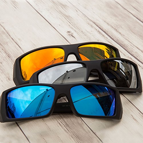 GAMMA RAY Polarized Wrap Around Sports Sunglasses with Shatterproof Nylon Frame – Choose Your Color Black Frame Blue Mirror Lens