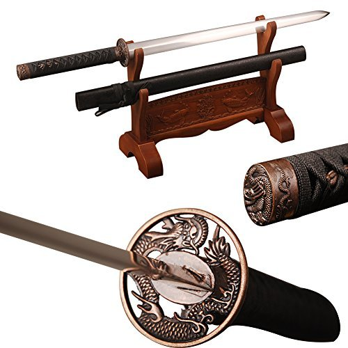 Shijian Japanese High Carbon Steel Handmade Black Dragon Straight Sword