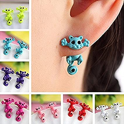 rosa Tia-Ve 1 paio carino 3D Cat Design Ear Stud Chic Ear Stud per donne ragazza