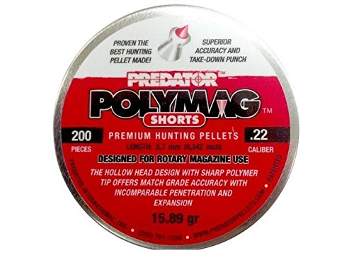 Predator Polymag Shorts, .22 Cal Pellets, 15.75 Grains, Pointed, 200ct by Predator International