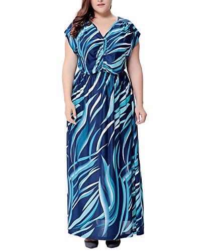 Cuello Vestido Vestido Boho Moda Mujer Playa Vestidos Maxi Azul Mangas Tallas Verano Largos Elegantes De Vestido V Vestido Verano Vestidos Sin Impresión Grandes xxHqAFw7
