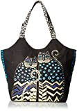 Laurel Burch Large Scoop Tote with Zipper Top, Spotted Cats