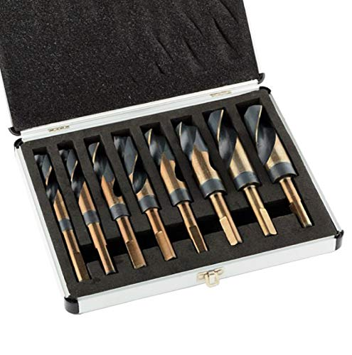 KCHEX>>8PC Jumbo Size Cobalt Coated Silver & Deming Drill BIT HSS>>8PC Bit Set w/Wooden Storage Case 9/16