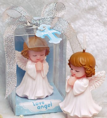 Candle Topper Case - Sweet Homes & Gardens Hand-Carved Mini Baby Angel Candle Cake Topper Scented Candle Wedding Party Decoration Baby Shower Favor(in Gift Box) (Girl)